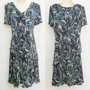 Dress Barn Patterned Tiered Skirt Size 10